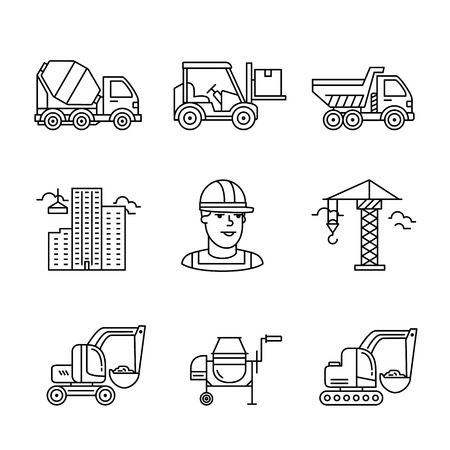 building site: Building site engineering and machinery. Thin line art icons. Linear style illustrations isolated on white.