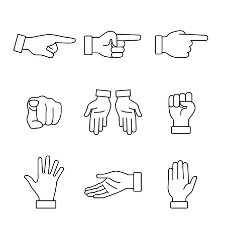 closed fist sign: Hand gestures signs set. Thin line art icons. Linear style illustrations isolated on white.