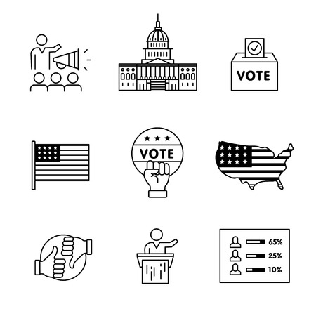 polling station: Elections, campaign and voting signs set. Thin line art icons. Linear style illustrations isolated on white. Illustration