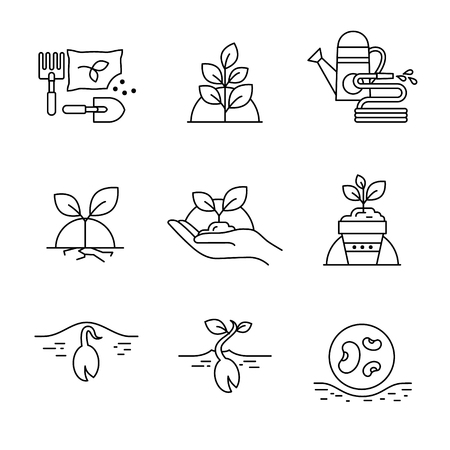 humus: Sprouting seeds and home gardening. Thin line art icons. Linear style illustrations isolated on white.