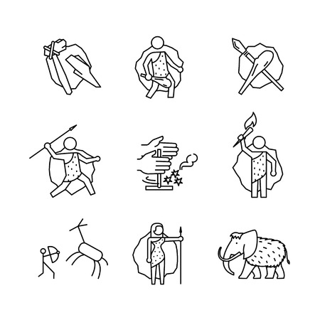 sapien: Primitive prehistoric caveman of ice age signs set. Thin line art icons. Linear style illustrations isolated on white. Illustration