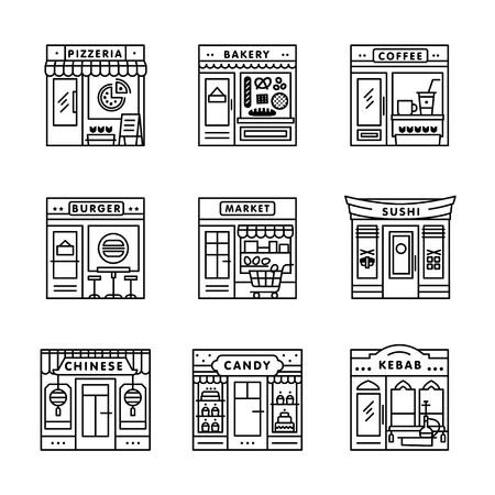 City cafe, food and groceries shops and stores buildings storefronts signs set. Thin line art icons. Linear style illustrations isolated on white.