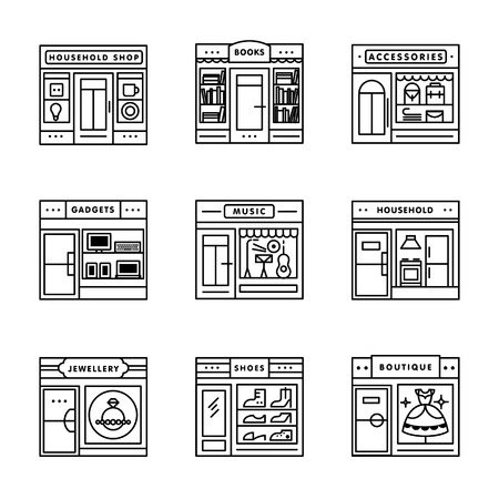 storefronts: City shops and stores buildings storefronts signs set. Thin line art icons. Linear style illustrations isolated on white.