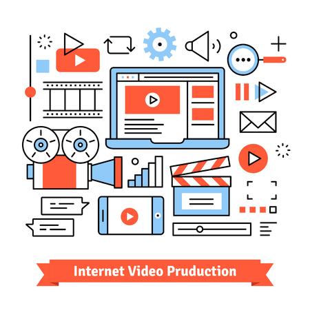 Youtuber 비디오 제작 스튜디오 및 소셜 미디어 마케팅. 독립적 인 클립 및 영화 제작. 얇은 라인 아트 평면 그림 아이콘으로. 일러스트