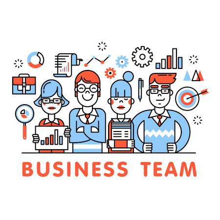 people in line: Young and successful business team standing tall. Development, sales, marketing and management executives. Thin line art flat illustration with icons.