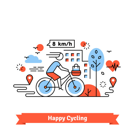healty lifestyle: Urban bike path happy cycling woman with a basket on her bicycle. Thin line art icons set. Flat style illustrations isolated on white.