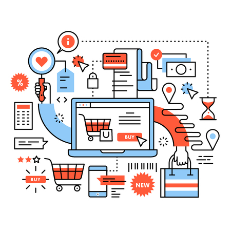 illustration line art: Ecommerce business concept. Purchasing goods in internet store, online shopping cart with products, order delivery and payment. Thin line art flat illustration with icons.