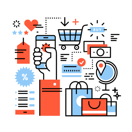 internet phone: Ecommerce business concept. Purchasing goods in internet store via smart phone, online shopping, worldwide order delivery and payment. Thin line art flat illustration with icons.