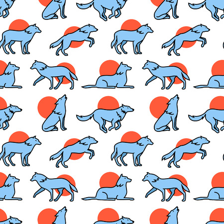 hauling: Wolves hauling at the full moon, jumping and running icons square seamless pattern. For store sales decoration. Thin line art flat objects texture illustration.