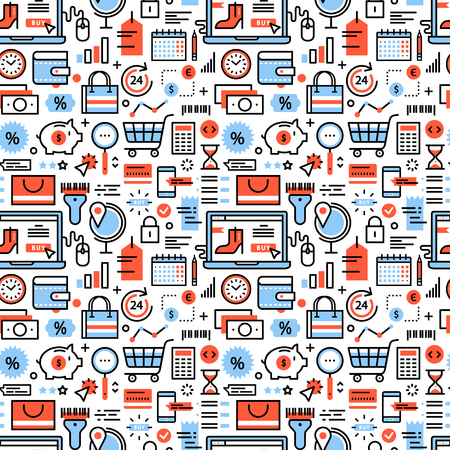 retail sales: Online shopping and retail business icons square seamless pattern. For store sales decoration. Thin line art flat objects texture illustration.