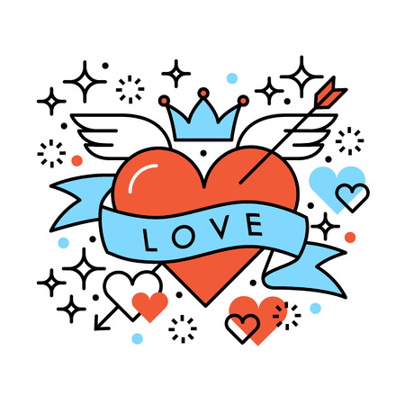 heart with wings: Love heart romantic hipster composition. Saint Valentines day greeting card template. Line illustration on white background.