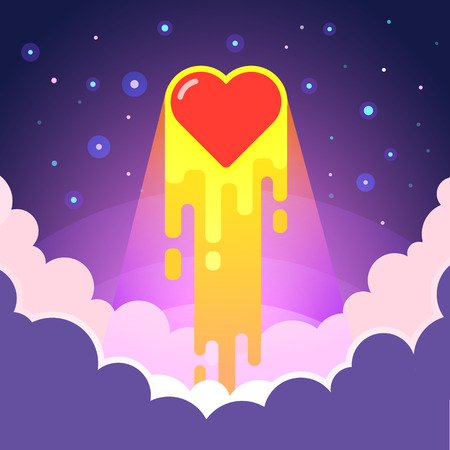 romance love: Burning heart lunches into space with love. Cosmic romance concept. Modern flat style vector illustration.
