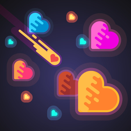 romance love: Burning heart speeding like a comet through galaxies in space. Cosmic love romance concept. Modern flat style vector illustration.