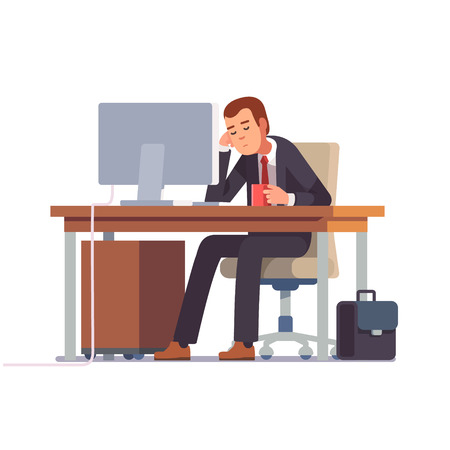 Tired businessman sleeping at his office desk with a cup of coffee. Flat style modern vector illustration. 矢量图像