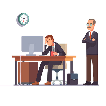 Boss watching over shoulder of a sleeping at work employee. Tired business man. Flat style modern vector illustration. Çizim