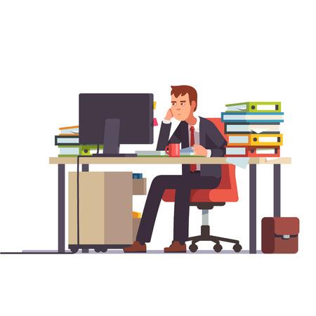 Comptable excédentaire et fatigué assis à son bureau avec des classeurs de documents empilés. Le stress des entreprises. Une illustration vectorielle moderne à l'art plat. Vecteurs