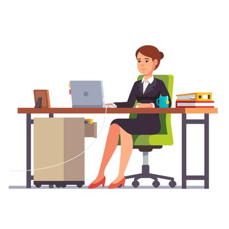 비즈니스 여자 또는 그녀의 사무실 책상에서 일하는 점원. 플랫 스타일의 현대 벡터 일러스트 레이 션.