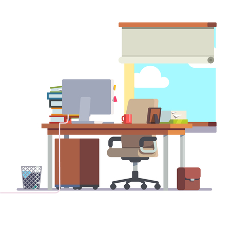 casters: Workplace office desk with a computer, comfortable chair and a pedestal drawer. Flat style modern vector illustration. Illustration