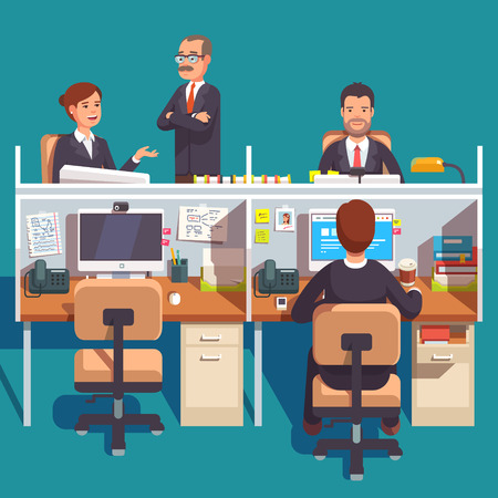 Cubicle office work space with employees at the desks. Flat style modern vector illustration. Illustration