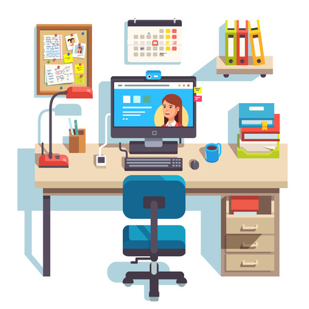 drawers: Home office with a computer, comfortable chair and a pedestal drawer. Student work desk. Flat style modern vector illustration.