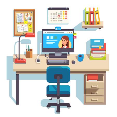 컴퓨터, 편안한 의자 및 페 데 스탈 서랍이있는 본사. 학생용 책상. 플랫 스타일 현대 벡터 일러스트 레이 션.