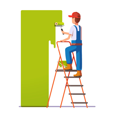 Craftsman painting white wall with roller green paint. Flat style modern vector illustration. Vettoriali