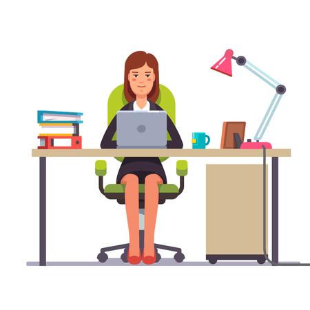 ビジネスの女性や彼女のオフィスの机で働く店員。フラット スタイルのモダンなベクトル イラスト。