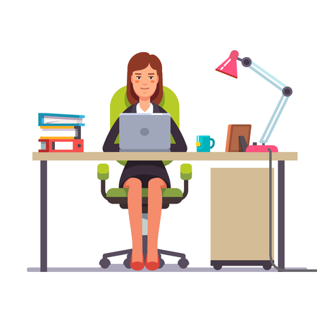 Geschäftsfrau oder ein Angestellter an ihrem Schreibtisch arbeiten. Wohnung modernen Stil Vektor-Illustration. Standard-Bild - 67653065