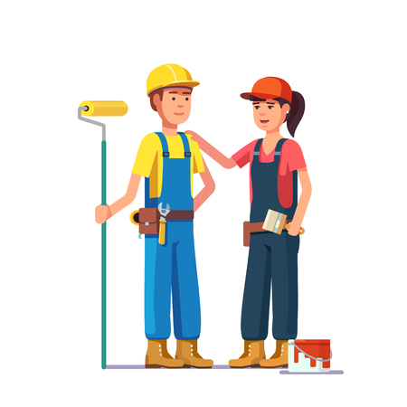 whitewash: Professional painters. Craftsman workers in uniform. Flat style modern vector illustration.