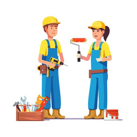 制服を着た労働者。画家、大工職人。フラット スタイルのモダンなベクトル イラスト。