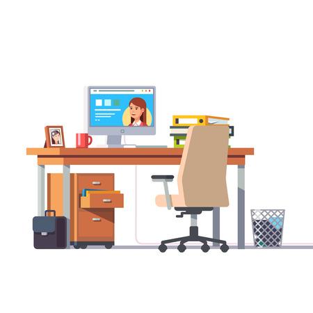 Bureau met een computer, comfortabele stoel en een voetstuk lade. Vlakke stijl moderne vectorillustratie. Stock Illustratie