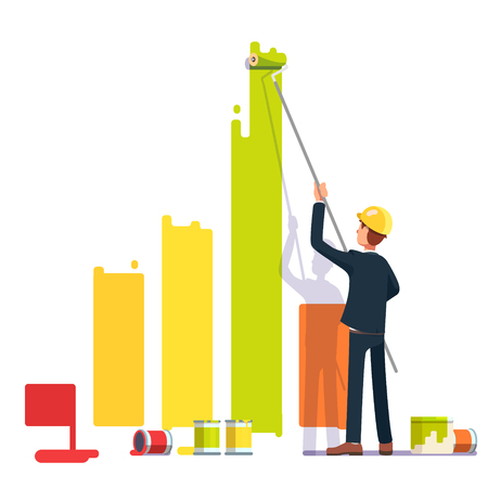 business metaphor: Business man painting bar graph with roller paint. Crisis management metaphor. Flat style modern vector illustration. Illustration