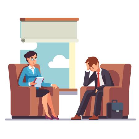 terapia psicologica: hombre de negocios rompe a hablar con el psicólogo. sesiones de psicoterapia. hombre de negocios frente al estrés. Piso moderno estilo de ilustración vectorial.