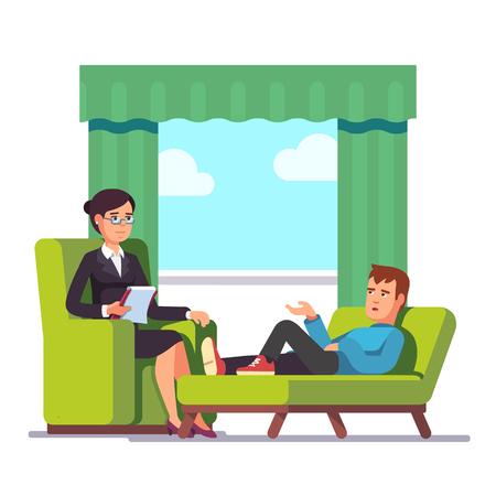 Patient spricht Psychologe. Psychotherapie Beratung. Der Umgang mit Stress und Sucht. Wohnung modernen Stil Vektor-Illustration. Wohnung modernen Stil Vektor-Illustration.