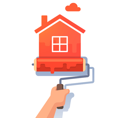 upkeep: New house symbol metaphor. Roller paint painting home shape. Flat style modern vector illustration. Illustration