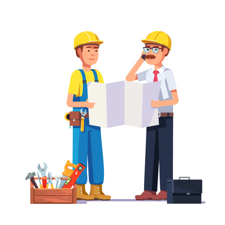 foreman: Carpenter talking with foreman or architect. Discussing work plan or blueprint. Flat style modern vector illustration. Illustration