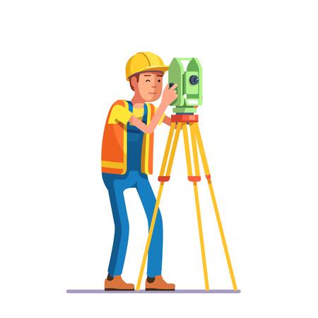 Landmeting en civiel ingenieur werken met zijn apparatuur. Vlakke stijl moderne vector illustratie.