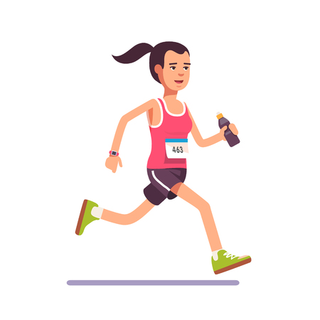 jog: Young woman running a marathon with water bottle in hand and number on her chest. Flat style modern vector illustration.