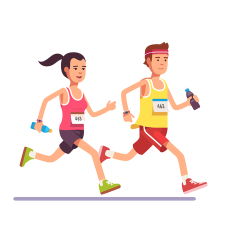 Fit couple running a marathon together. Flat style modern vector illustration. Vetores