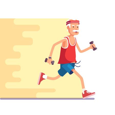 running man: Fit elderly man jogging with dumbbells in hands. Flat style modern vector illustration.