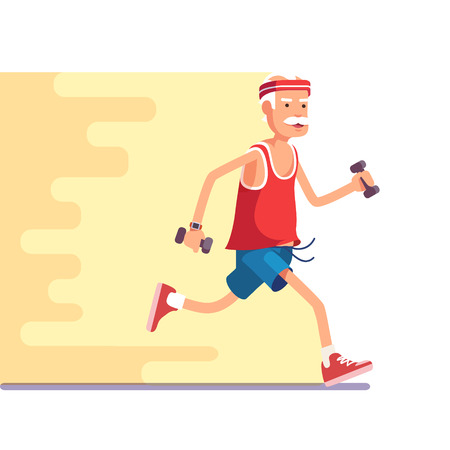 anciano: Montar anciano corriendo con pesas en las manos. Piso moderno estilo de ilustración vectorial.