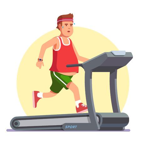 Otyły młody człowiek działa na bieżni. Ćwiczenie w pocie, aby pozbyć się grubego brzucha. Płaskie styl nowoczesny wektorowej.