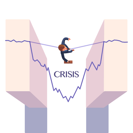 business metaphor: Businessman walking a rope, taking risk overcoming economic stock market crisis. Business metaphor. Flat style vector illustration.