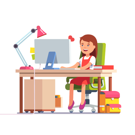 Young school kid girl studying sitting in front of the desktop computer at her home desk. Flat style color modern vector illustration.