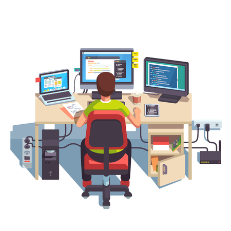 engineers: Professional programmer working writing code at his big desk with multiple displays and laptop computer. Flat style color modern vector illustration.