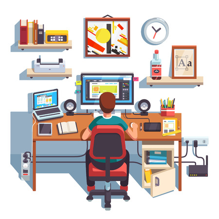 laptop computer: Professional designer working on a site project at his big desk with laptop computer and big display accompanied by drawing pen tablet. Flat style color modern vector illustration.