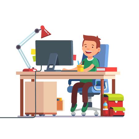 Jonge school jongen jongen studeren zitten voor de desktop computer op haar thuis bureau. Huiswerk doen bij papa werkplek. Vlakke stijl kleur moderne vector illustratie. Vector Illustratie