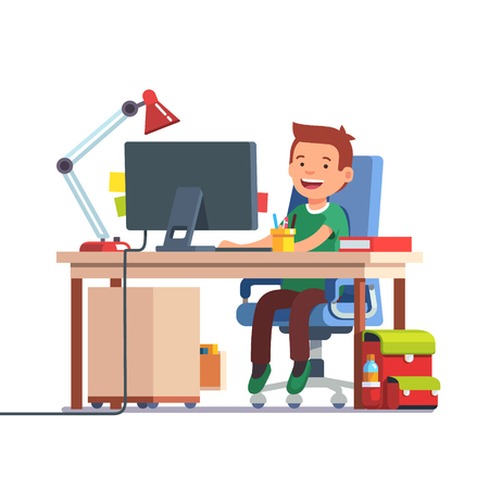 Young school kid boy studying sitting in front of the desktop computer at her home desk. Doing homework at daddy workplace. Flat style color modern vector illustration.