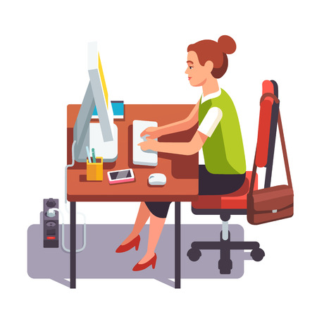 desk clerk: Clerk woman working on a desktop computer at the office desk. Sitting on chair and keyboard typing. Flat style color modern vector illustration.