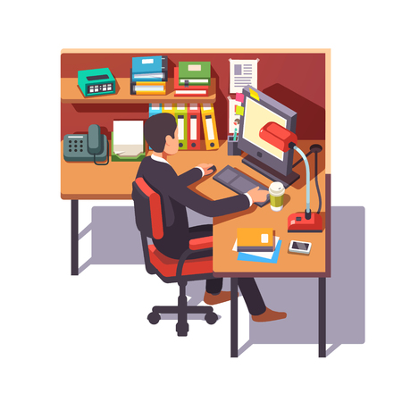 desk clerk: Corporate worker clerk doing his job sitting on chair at the office cubicle desk. Flat style color modern vector illustration.